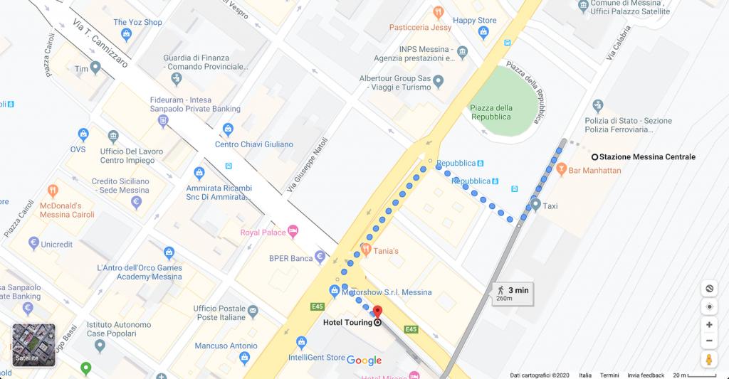 mappa hotel touring messina dove siamo